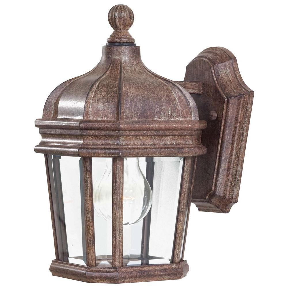 the great outdoors by Minka Lavery Harrison 1-Light Vintage Rust Outdoor Wall Mount Lantern