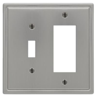 Moderne 2 Gang 1-Toggle and 1-Rocker Steel Wall Plate - Brushed Nickel