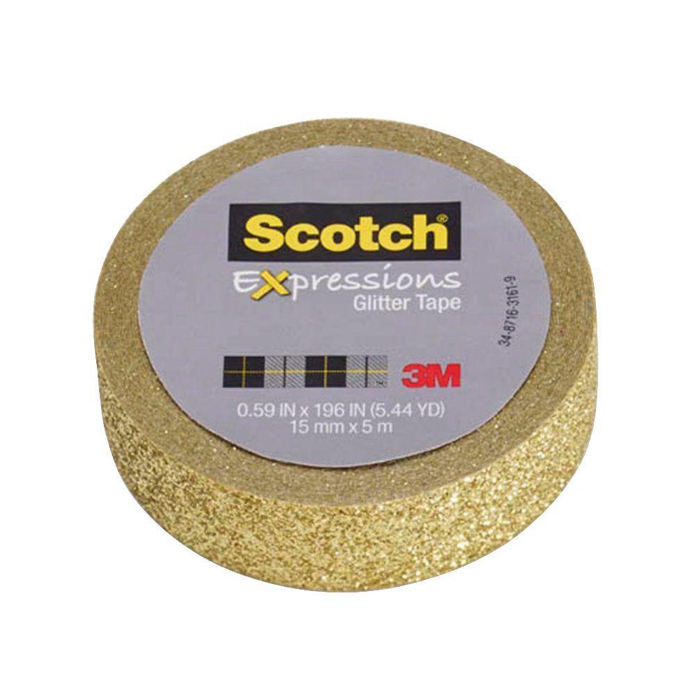 Scotch 0.59 in. x 5.44 yds. Expressions Gold Glitter Tape