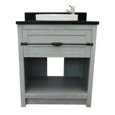 Plantation II 31 in. W x 22 in. D Bath Vanity in Gray with Granite Vanity Top in Black with White Round Basin