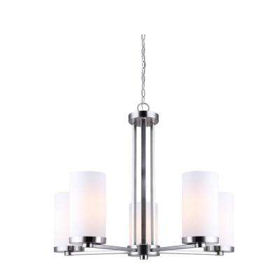 River 5-Light Brushed Nickel Chandelier with Flat Opal Glass Shades