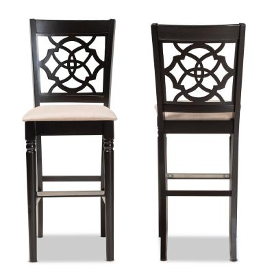 28.3 in. Alexandra Sand and Espresso Brown Bar Stool (Set of 2)