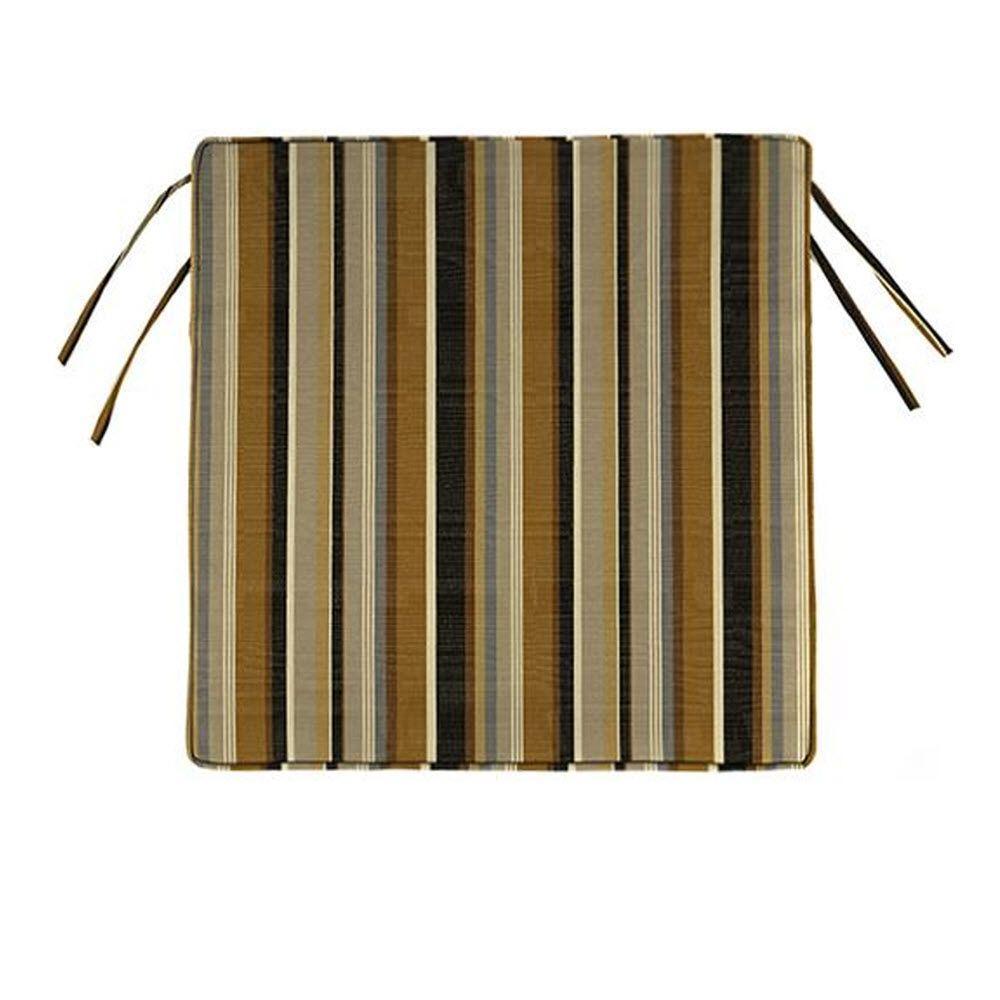 Home Decorators Collection Sunbrella Espresso Stripe Square Outdoor Seat  Cushion