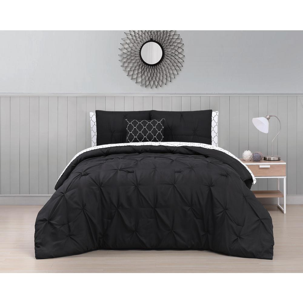 Bradford 8-Piece Black Queen Bed in a Bag