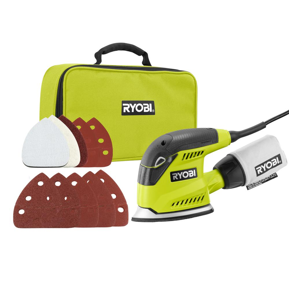 RYOBI 1.2 Amp Corded 5.5 in. Corner Cat Sander with Dust Bag, Sample Sandpaper, and Storage Case