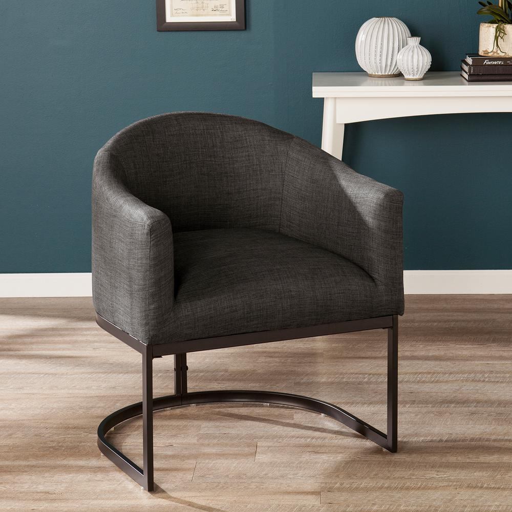 Super Southern Enterprises Benton Charcoal Gray And Black Upholstered Barrel Chair Bralicious Painted Fabric Chair Ideas Braliciousco