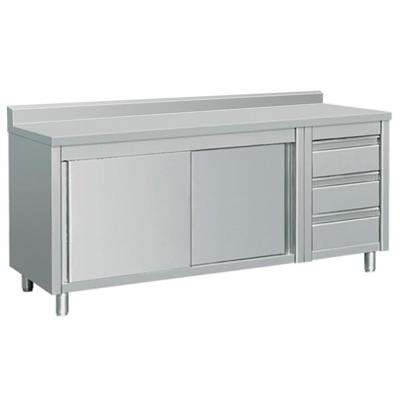 72 in. x 28 in. x 38 in. Stainless Steel Kitchen Utility Table Sliding Door 3-Drawers Back Splash