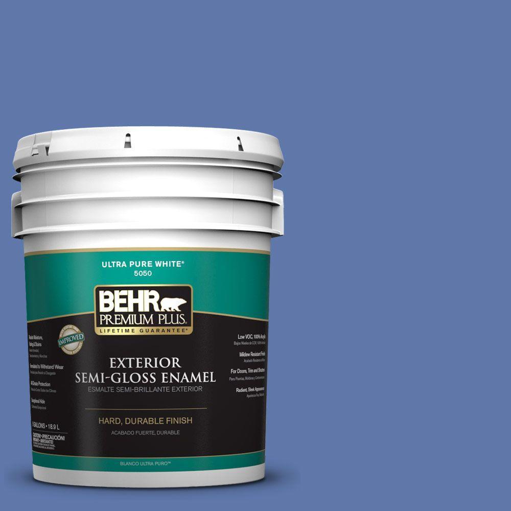 BEHR Premium Plus Home Decorators Collection 5-gal. #HDC-FL13-6 Baltic Blue Semi-Gloss Enamel Exterior Paint