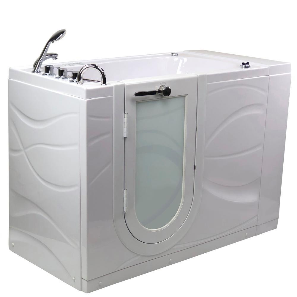 Chi 52 in. Walk-In Whirlpool/Air Bath Bathtub in White, LH Outward Swing Door, Digital Control, Faucet, LH Dual Drain
