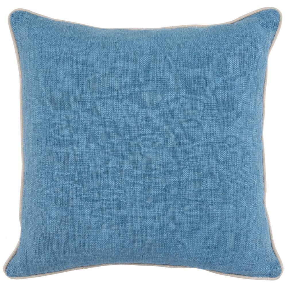 Alba Parisian Blue 22 in. x 22 in. Solid Textured Cotton Decorative Pillow