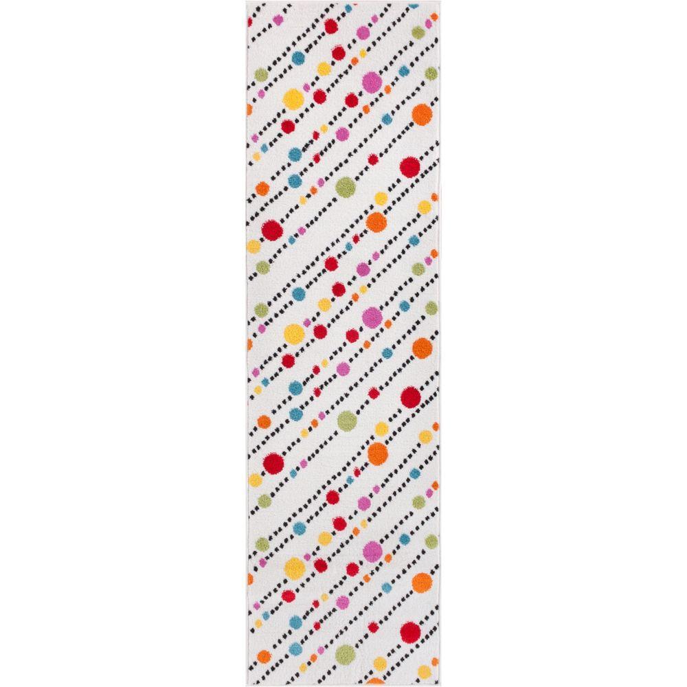 StarBright Dandy Dots and Stripes White 2 ft. x 7 ft. Kids Runner Rug