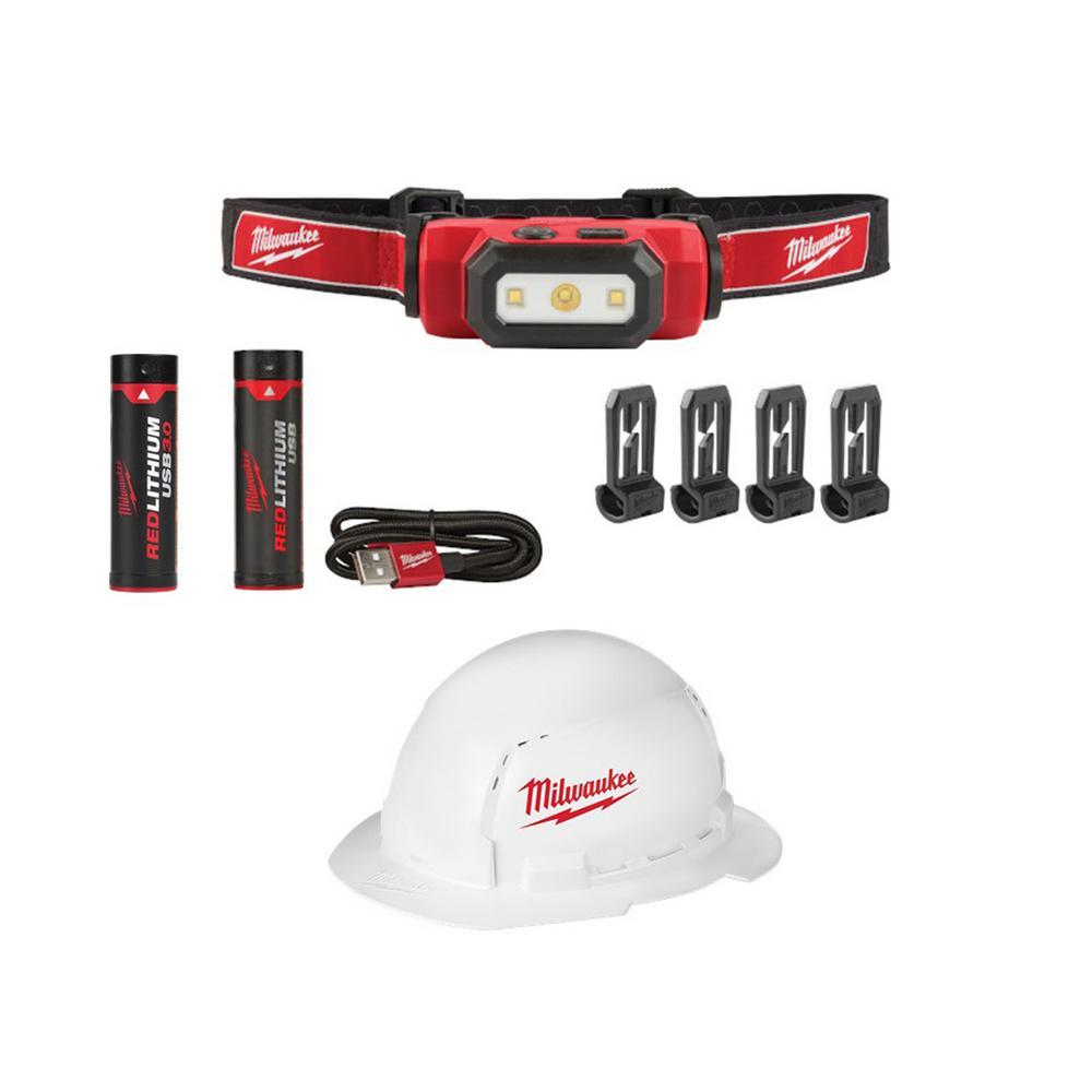 475 Lumens LED Rechargeable Hard Hat Headlamp and BOLT Full Brim Vented Hard Hat w/ Bonus USB 3.0 Ah Battery