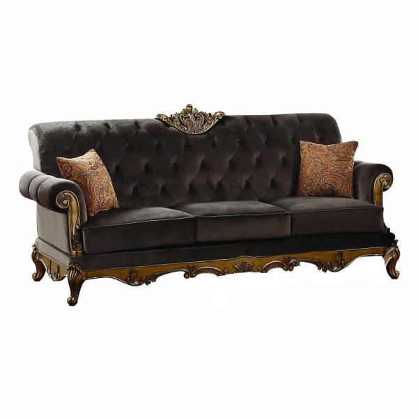 Amelia 41 in. Charcoal Fabric 3-Seater Chesterfield Sofa with Removable Cushions
