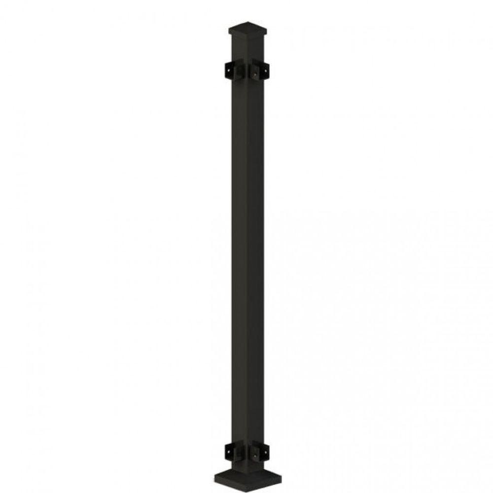 Metal Railing Black Corner Post Assembly H Rail (Common: 2 in.