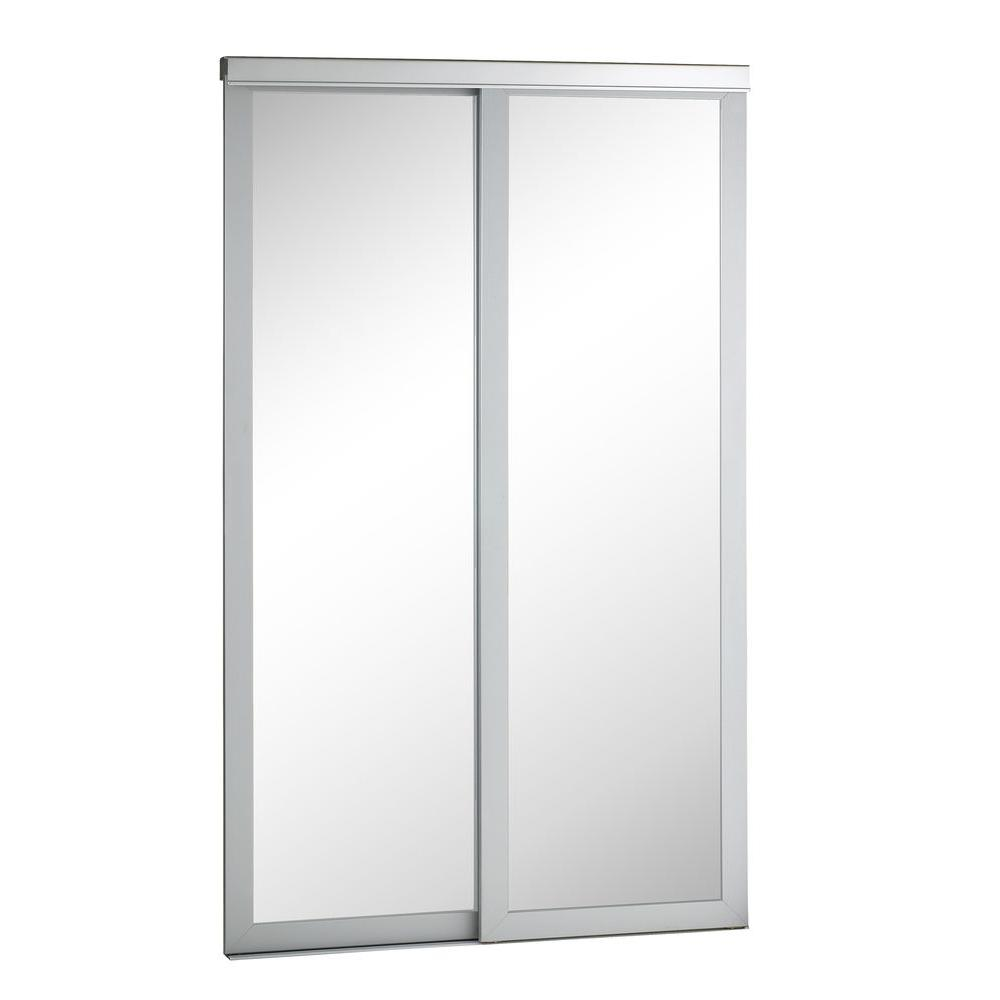 Pinecroft 48 in. x 80 in. Mirror Urban Silver Frame Aluminum Sliding Door