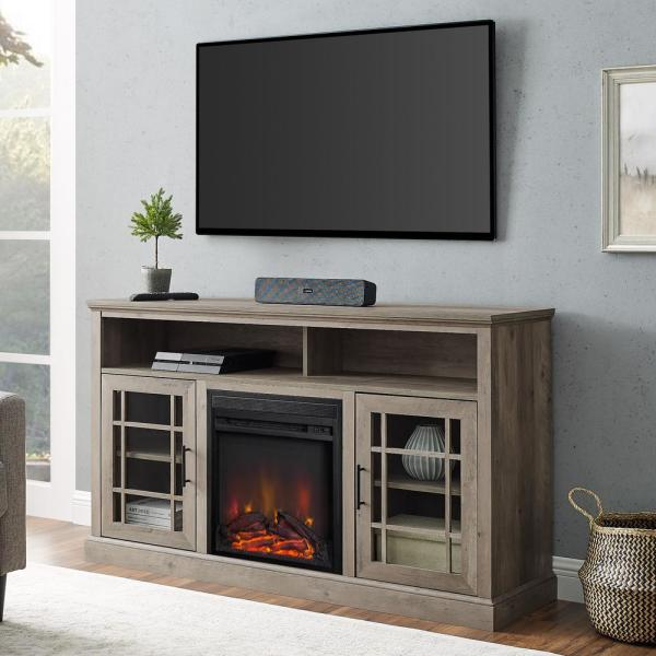58 in. Grey Wash Wood and Glass Windowpane TV Stand Fits TVs up to 65 in. with Electric Fireplace