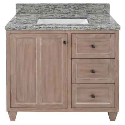 Banks 37 in. W x 22 in. D Bath Vanity in Antique Ash with Granite Vanity Top in Santa Cecilia with White Sink