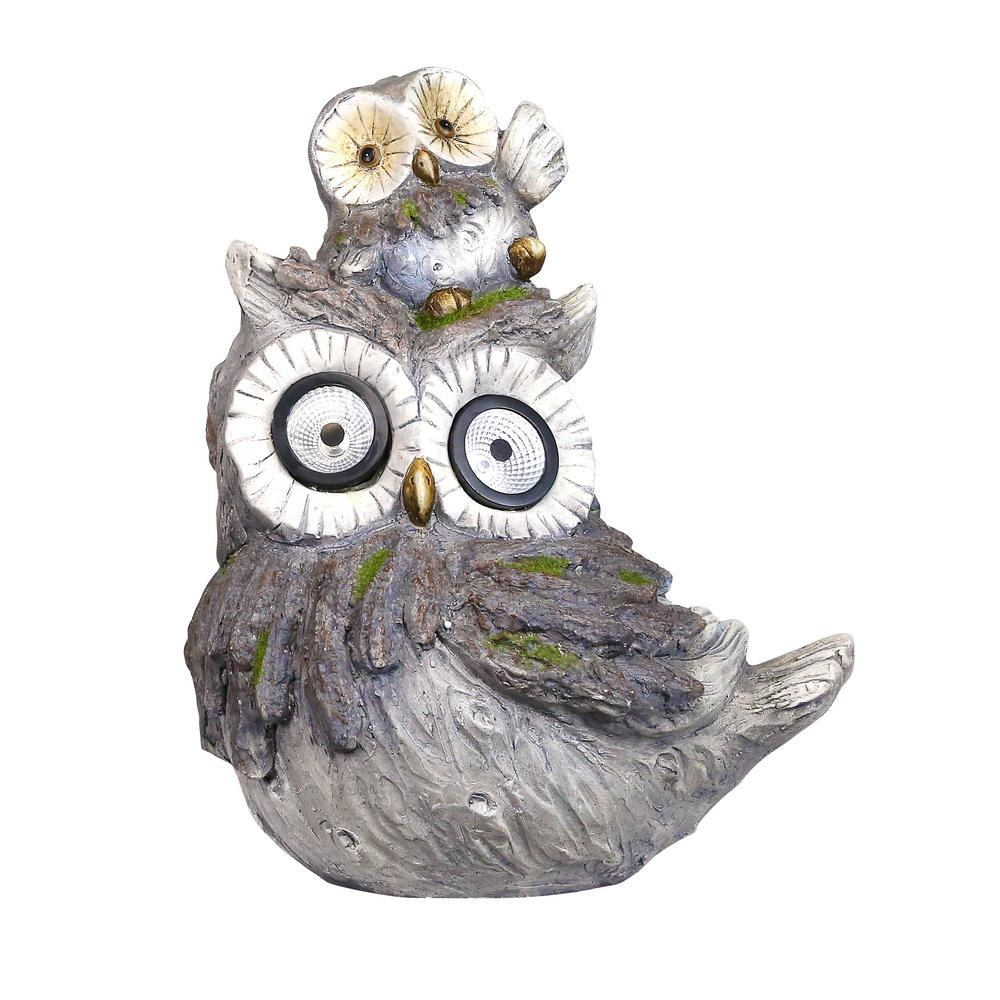 Alpine Corporation 15 in. Tall Solar Owls White LED Changing Color Eyes Statue with Timer
