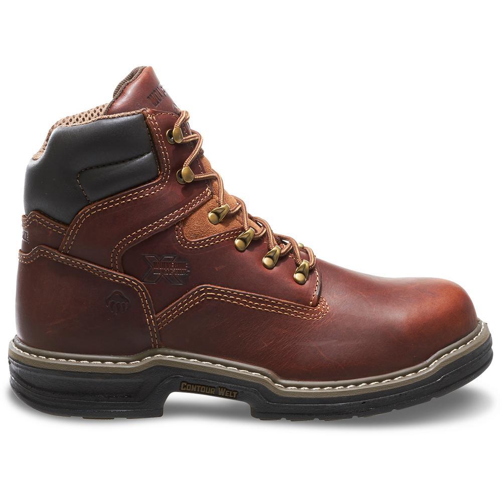4fb963ee5d8 Wolverine Men's Raider 13EW Brown Full-Grain Leather Waterproof Steel-Toe  6