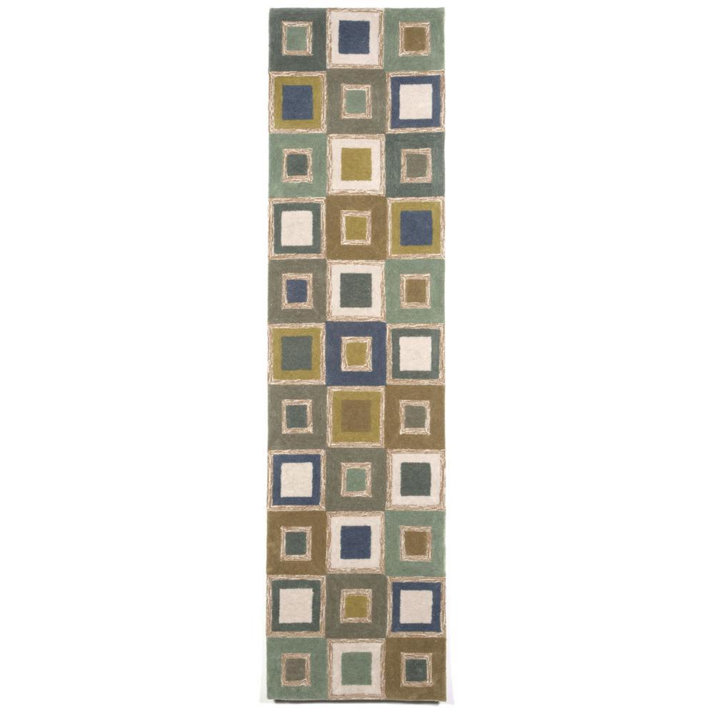 Perugia Geometrics Blue 2 ft. x 8 ft. Indoor/Outdoor Runner
