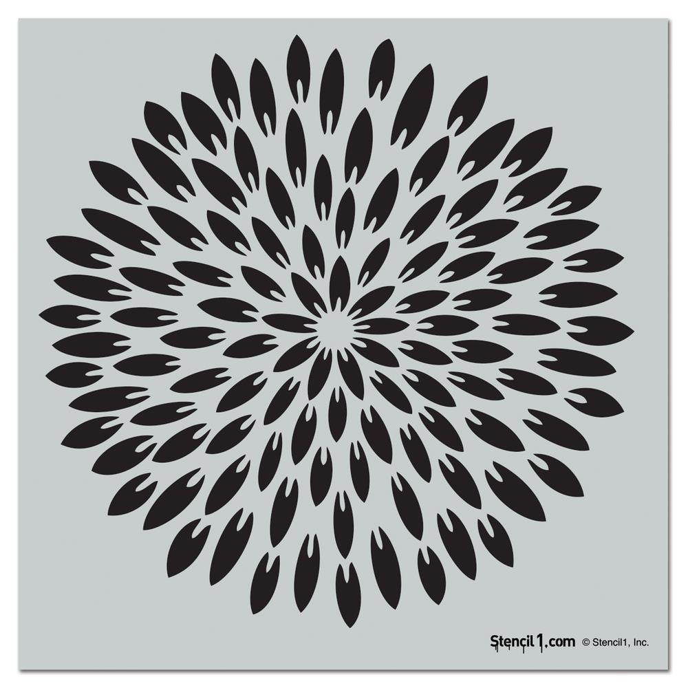 Exotic Mum Repeat Pattern Stencil