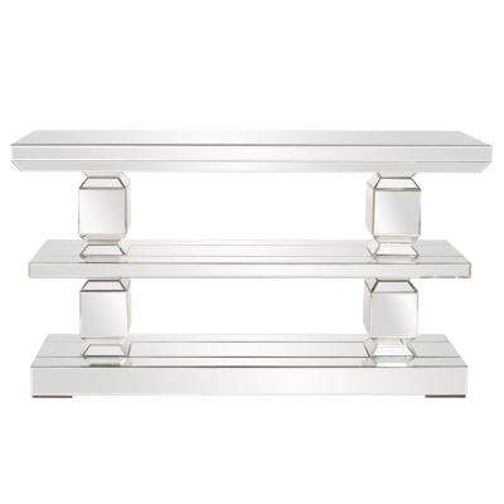 Mirrored Three Shelf Console Table