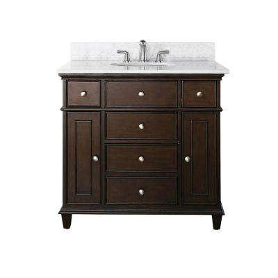 Windsor 37 in. W x 22 in. D x 35 in. H Vanity in Walnut with Marble Vanity Top in Carrera White and White Basin