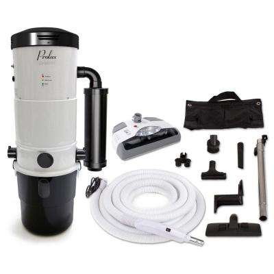 CV12000 White Central Vacuum Power Unit with Electric Hose and Power Nozzle Kit