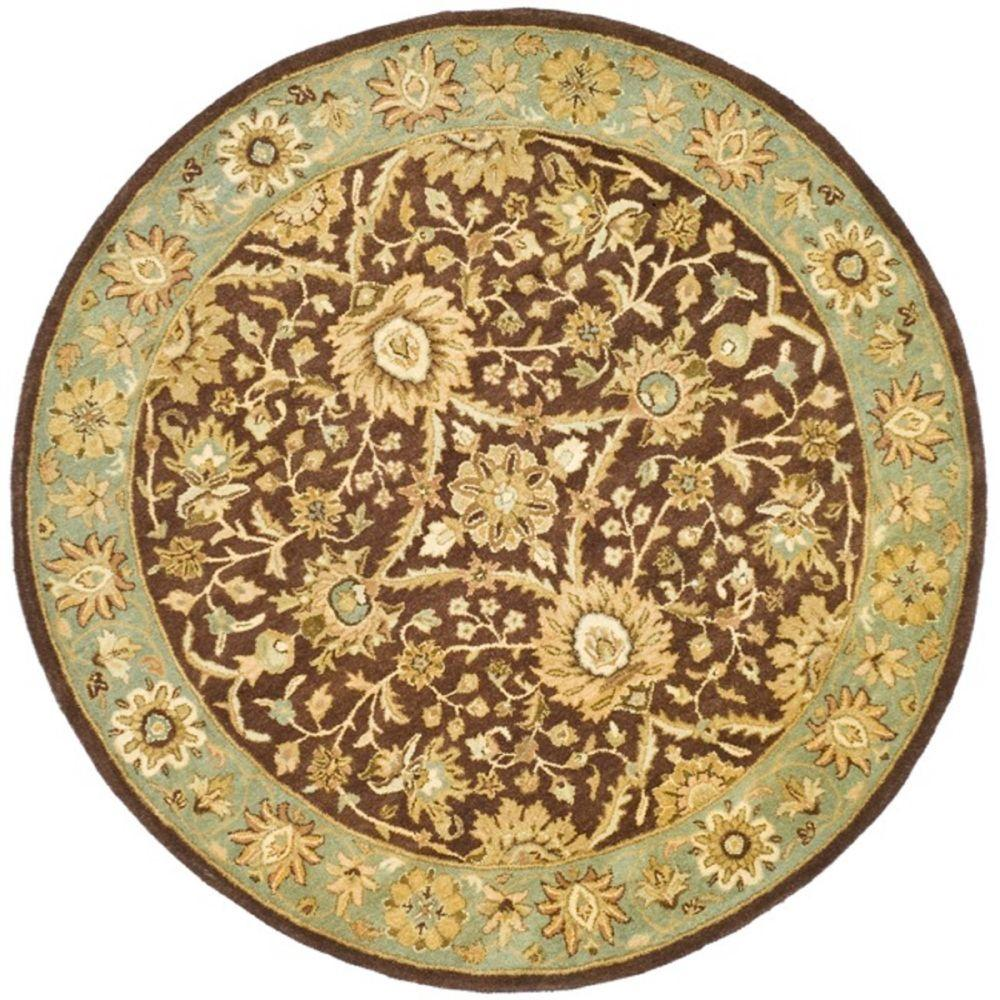 Safavieh Antiquity Chocolate Blue 6 Ft X 6 Ft Round Area