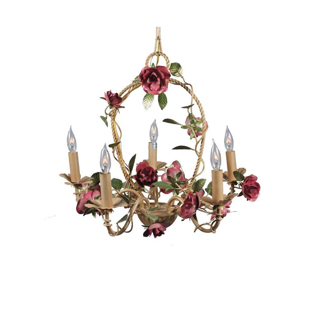 Illumine 5 Light Rose Basket Chandelier