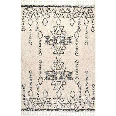Veola Moroccan Tribal Tassel Off-White 7 ft. 10 in. x 10 ft. Area Rug