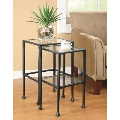 2-Piece Black Glass and Metal Nesting Tables
