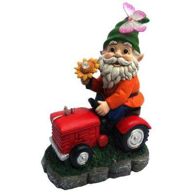 Solar Welcome Gnome on Tractor with LED Lights-TM