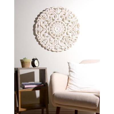 Round Decorative Whitewashed Carved Wood Wall Panel