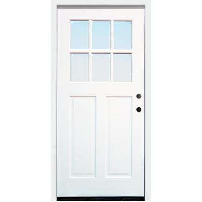 Cottage 36 in. x 80 in. White Left Hand Inswing Clear 6-Lite 2-Panel Painted Wood Prehung Entry Door