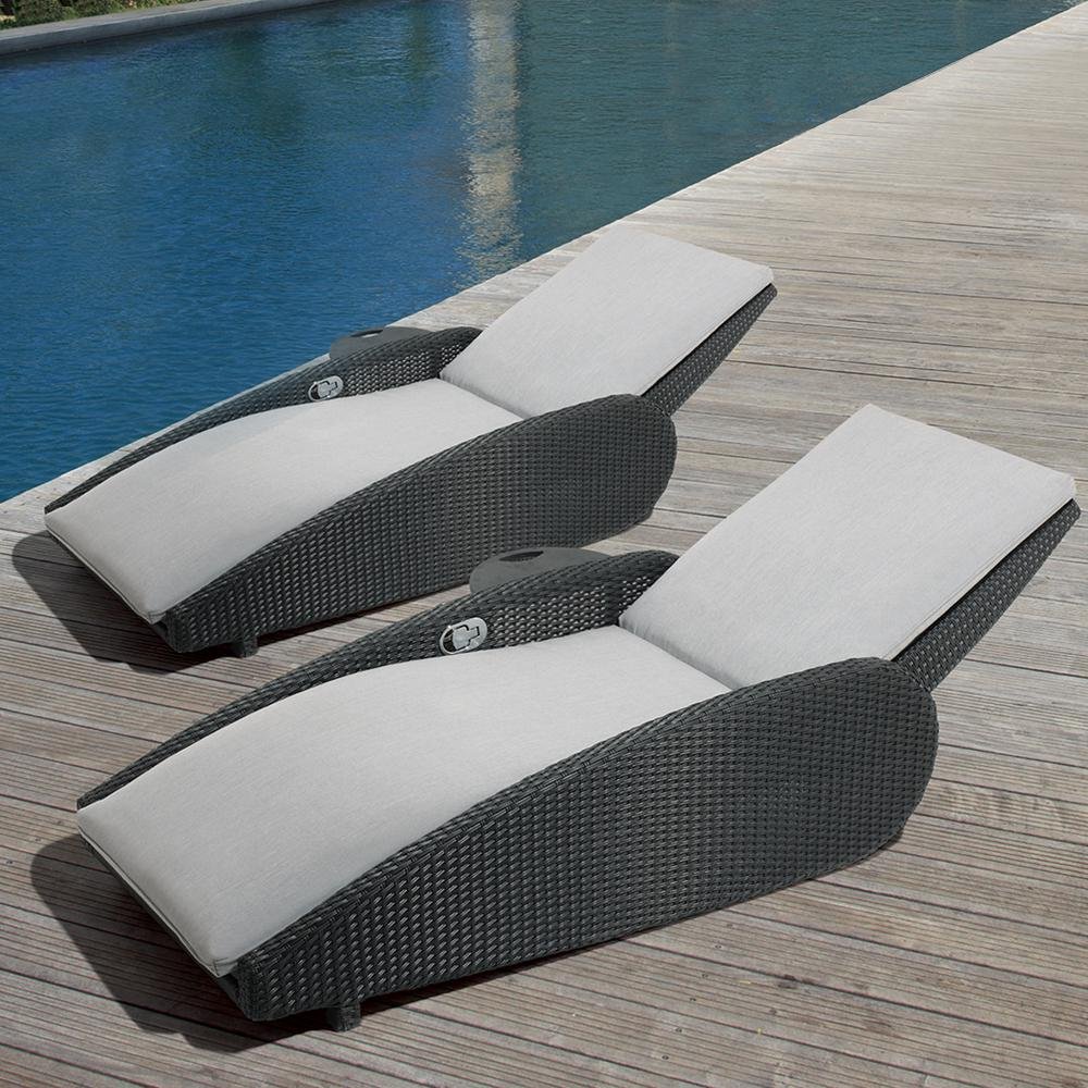 OVE Decors Sevilla Oversized Reclining Aluminum Outdoor Lounge Chair with  Sunbrella Gray Cushions (2-Pack)