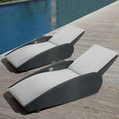 Sevilla Oversized Reclining Aluminum Outdoor Lounge Chair with Sunbrella Gray Cushions (2-Pack)