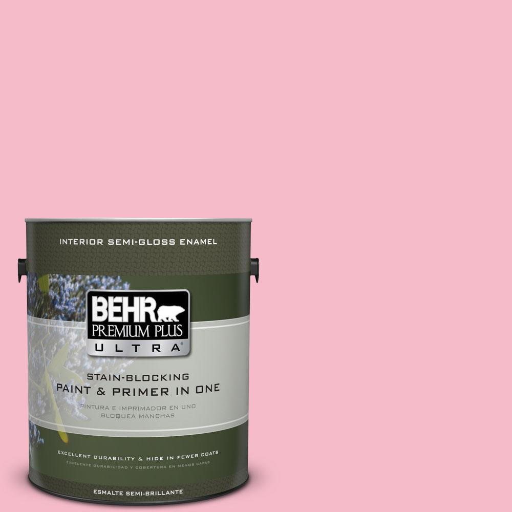 1-gal. #120C-2 Pink Punch Semi-Gloss Enamel Interior Paint