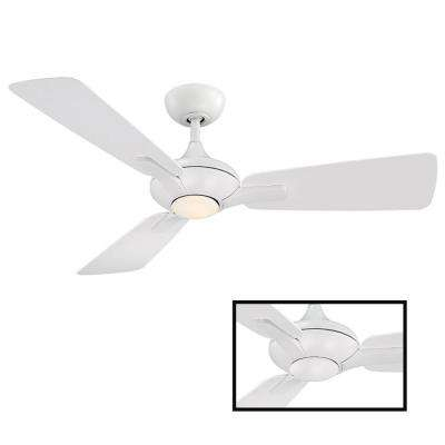 Mykonos 52 in. LED Indoor/Outdoor Matte White 3-Blade Smart Ceiling Fan with 3000K Light Kit and Wall Control