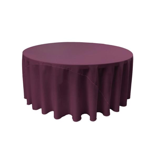 108 in. Eggplant Round Polyester Poplin Tablecloth