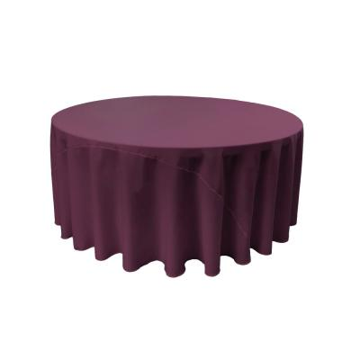 132 in. Eggplant Polyester Poplin Round Tablecloth