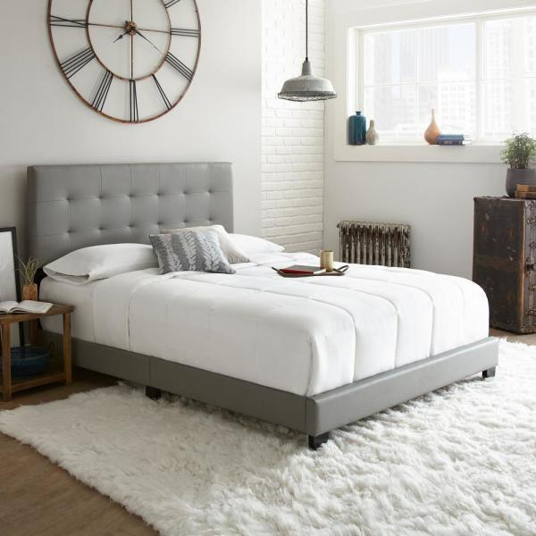 Rest Rite Channing Gray Full Tufted Upholstered Platform Bed HDCHANGDB