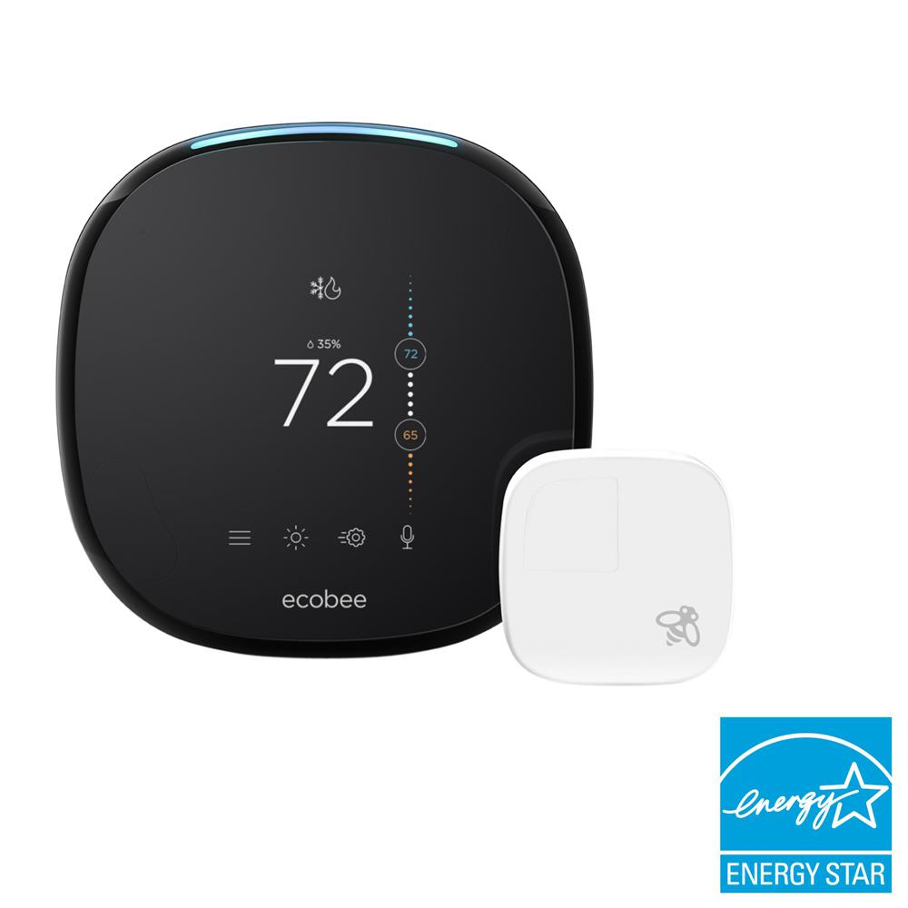 ecobee ecobee4 7-Day Smart Wi-Fi Programmable Thermostat with Room Sensor and Built-In Alexa Voice Service