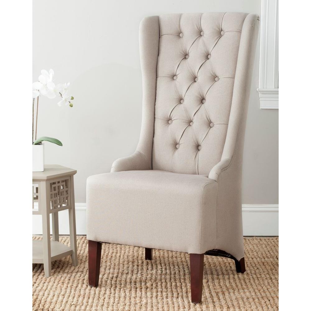 safavieh bacall taupe linen dining chair mcr4501m the home depot. Black Bedroom Furniture Sets. Home Design Ideas