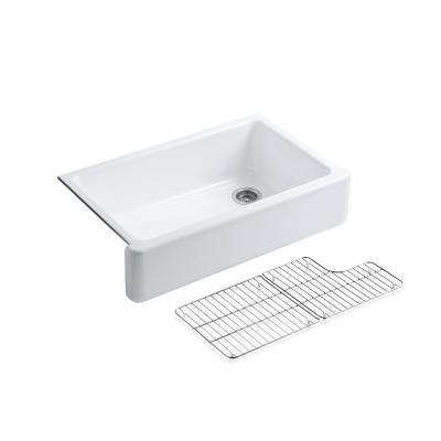Whitehaven Farmhouse Apron Front Self-Trimming Cast Iron 36 in. Single Basin Kitchen Sink in White with Basin Racks
