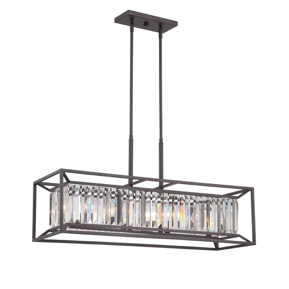 Dennis Retro Kitchen Linear Island Pendant Lighting Clear: Designers Fountain Linares 4-Light Vintage Bronze Interior