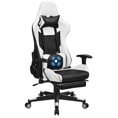 Massage Gaming Chair Recliner Upholstery Racing Office Chair w/ Massage Lumbar Support & Footrest White