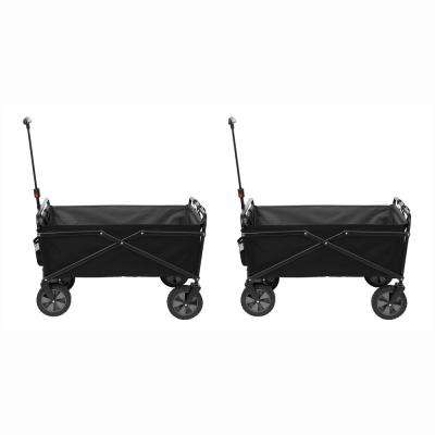 150 lbs. Capacity Heavy-Duty Compact Folding Outdoor Cart in Black (2-Pack)