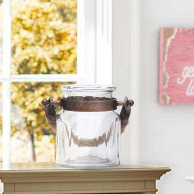 3.5 in. x 4 in. Small Clear Glass Ribbed Jar with Antique Copper Metal Trim and Rope Handles