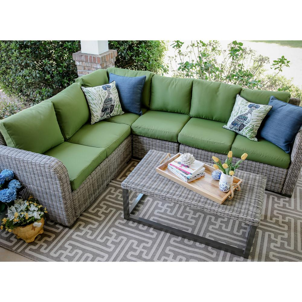 Forsyth 5-Piece Wicker Outdoor Sectional Set with Green Cushions